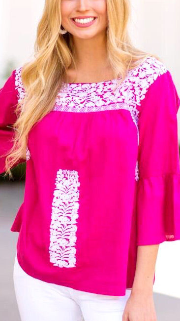 The Margo Bell Sleeve Top - Pink + White