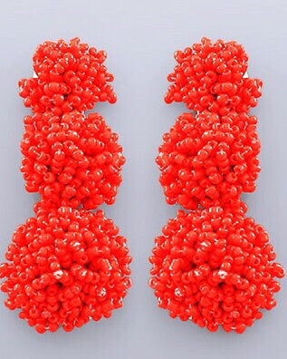 Beaded Bon Bon Earrings - Red