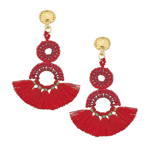 Beaded Drops - Red