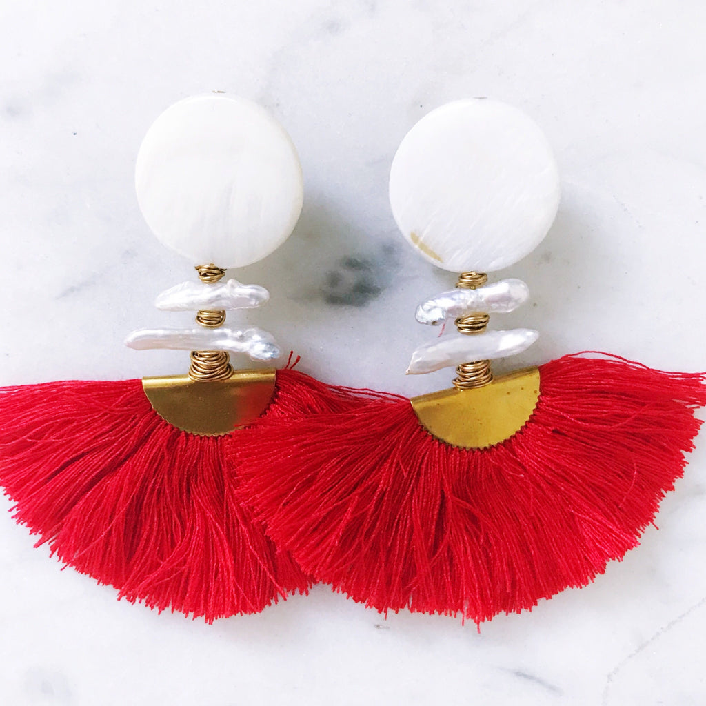 Ella Earrings - Red