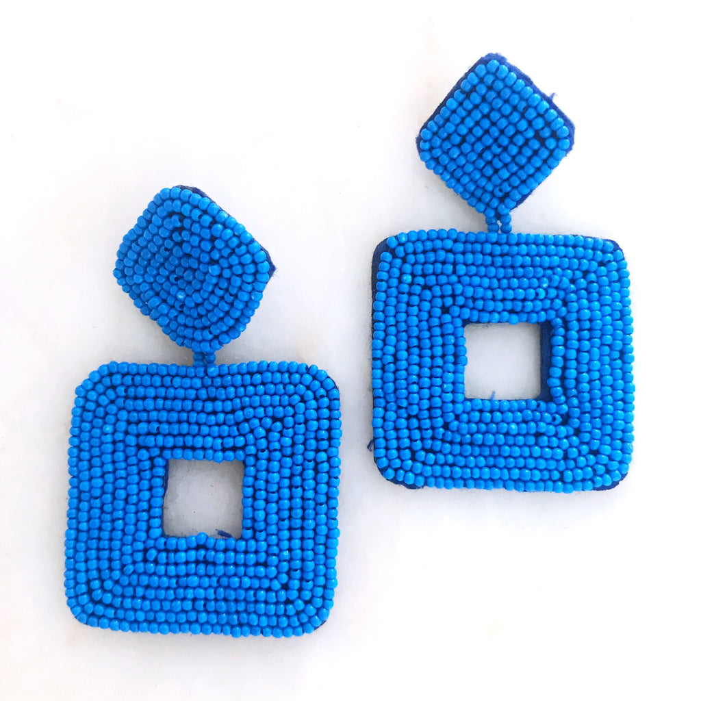 Henning Beaded Earrings - Blue