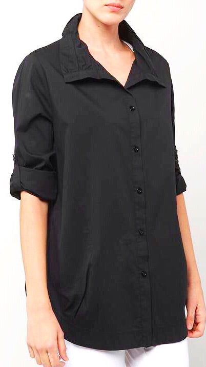 Louise Rouched Collar Tunic - Black
