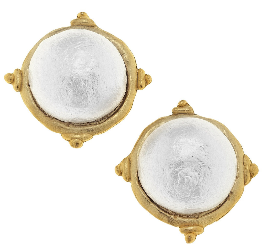 Cotton Pearl Clip Earrings - Gold
