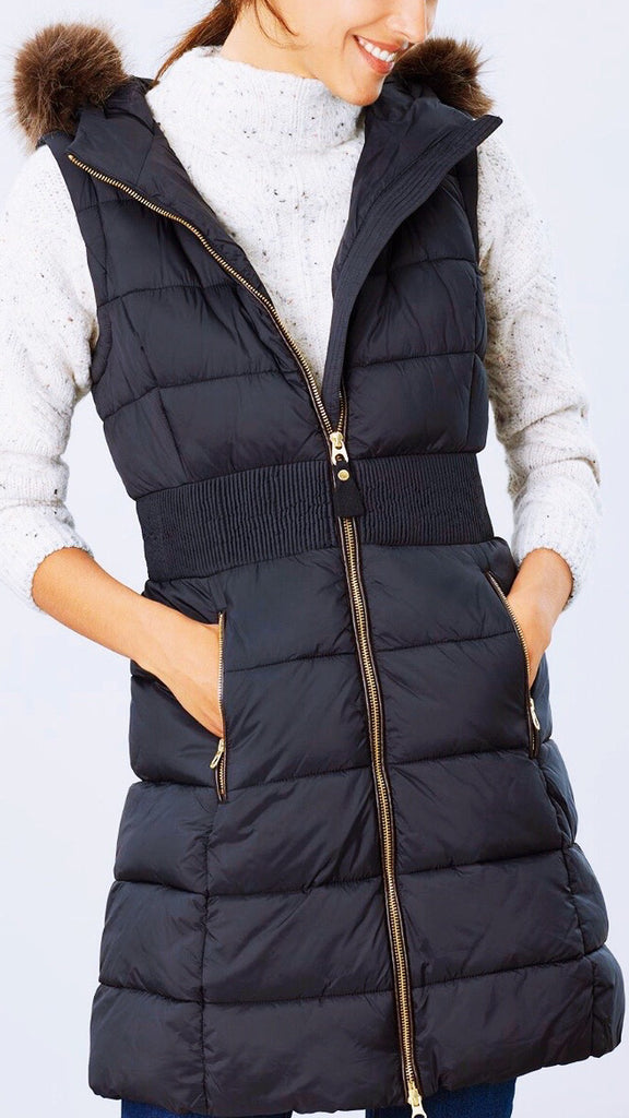 Avebury Long Puffer Vest - Black