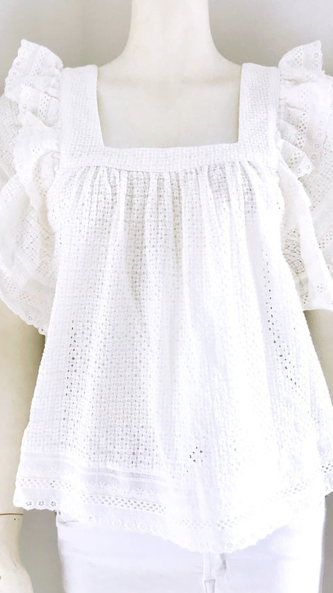 Pippen Square Neck Lace Top - White