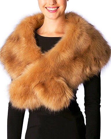 Faux Fur Shawl - Tan