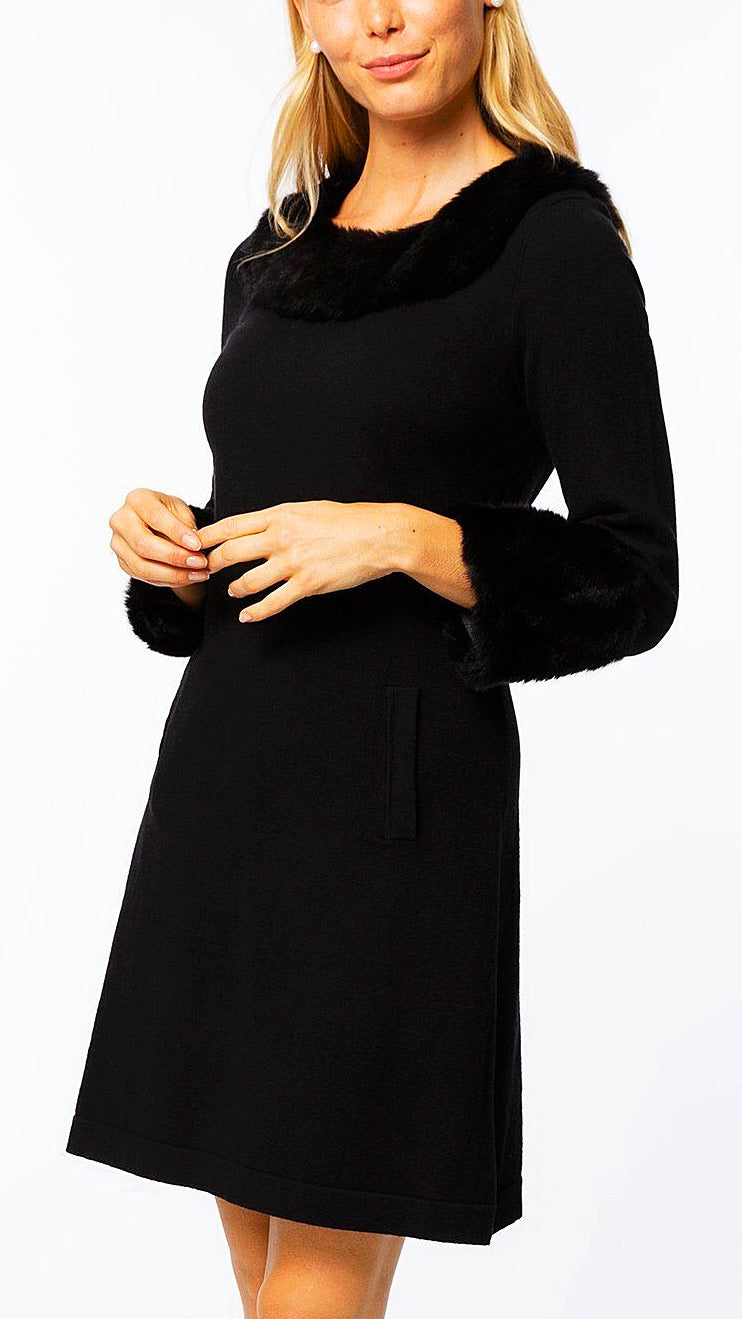 Mindy Faux Fur Trimmed Dress - Black