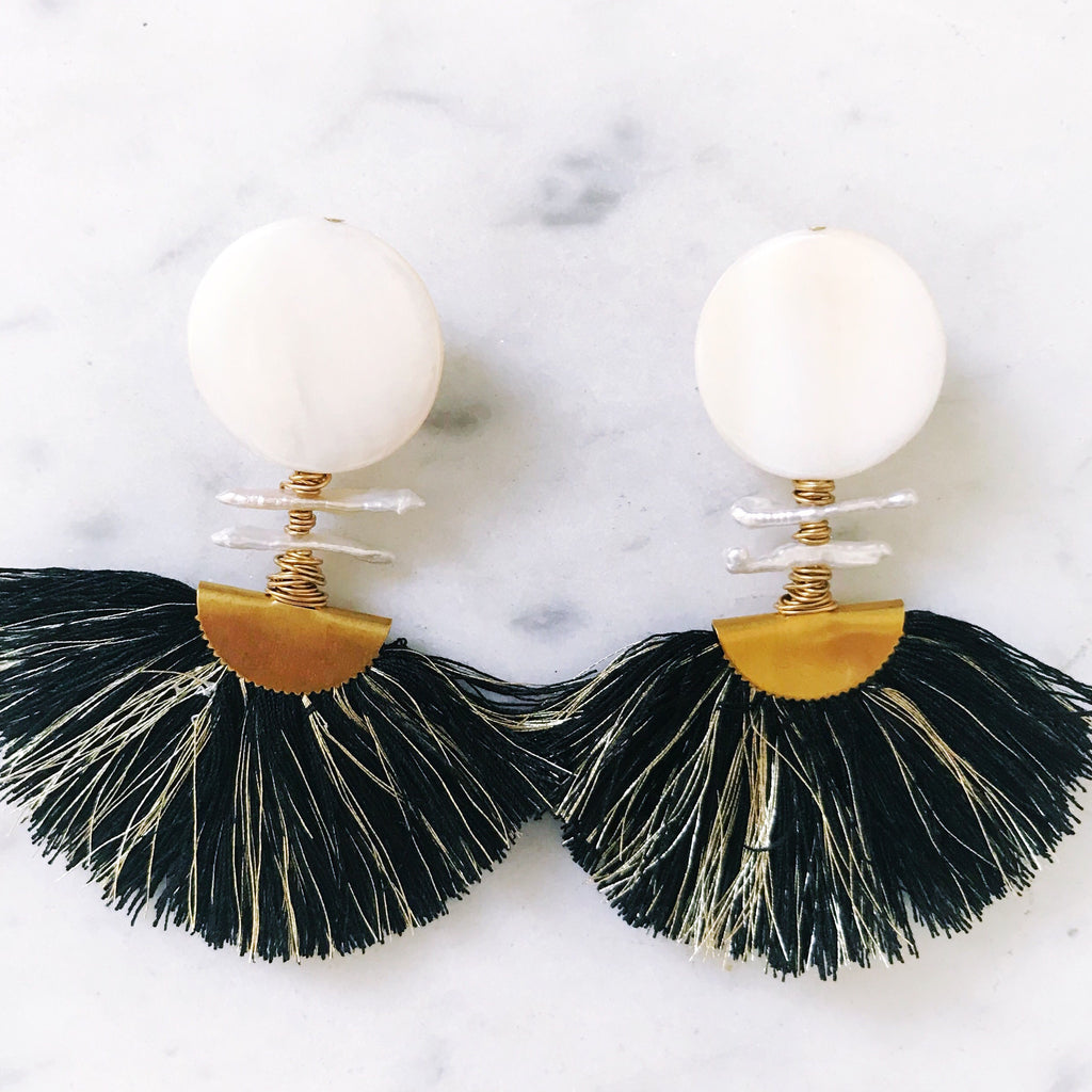Ella Earrings - Black + Gold
