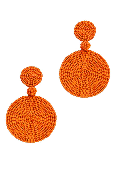 Cape Town Beaded Disc Earrings - Orange *Clip-On