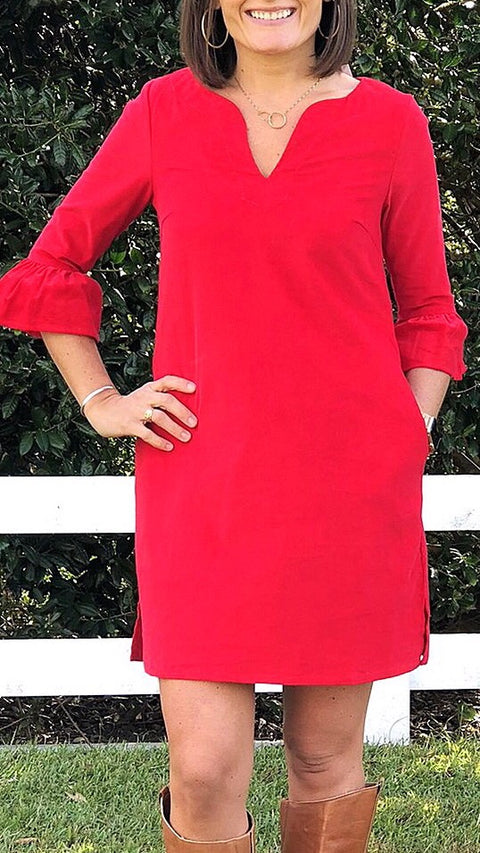Bell Sleeve Dress - Red Corduroy