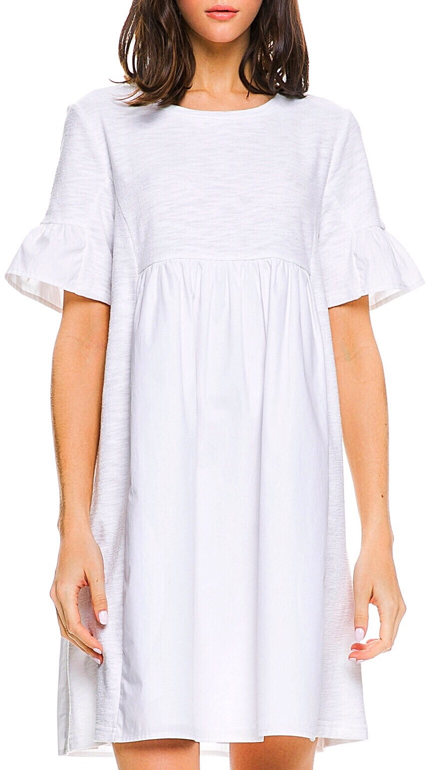 Easy Poplin Dress - White