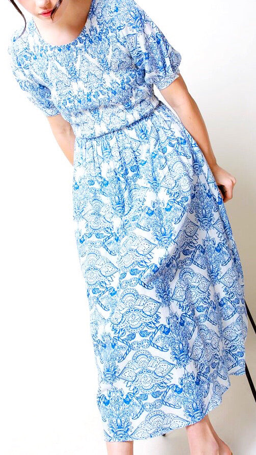 Effie Smocked Printed Midi - Blue + White