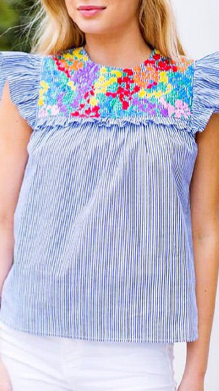 Puerta Ruffle Embroidered Top - Blue Stripe