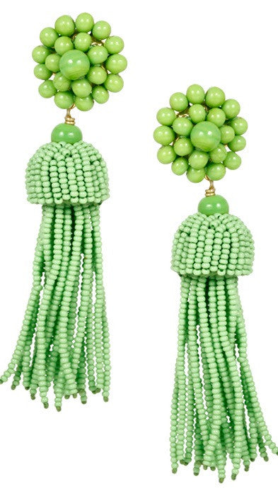 Tassel Earrings - Lime