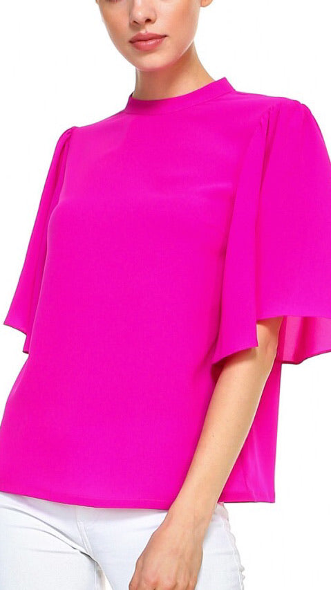 Mock Neck Flutter Sleeve Top - Pink