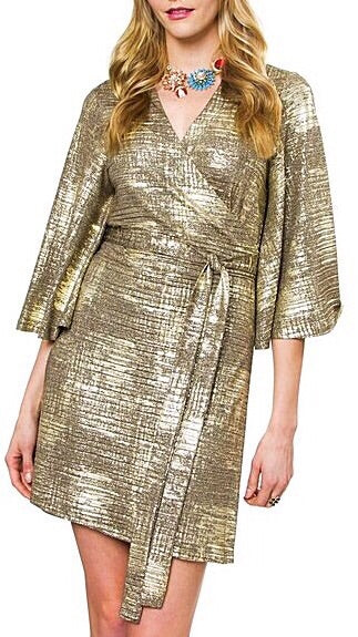 Fête Wrap Dress - Metallic