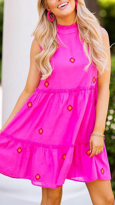 The Evelyn Tiered Dress - Pink
