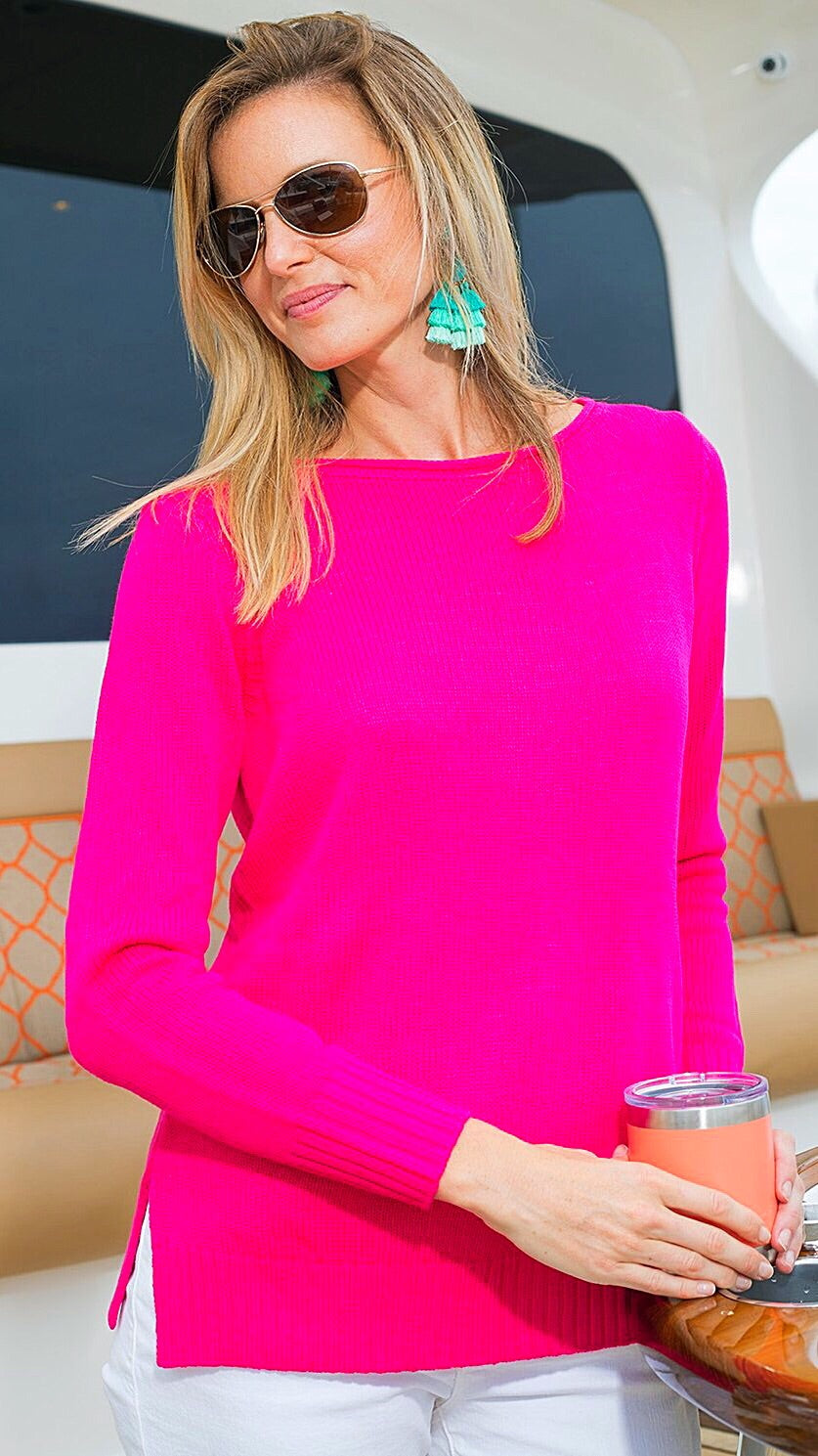 Open Weave Sweater - Hot Pink