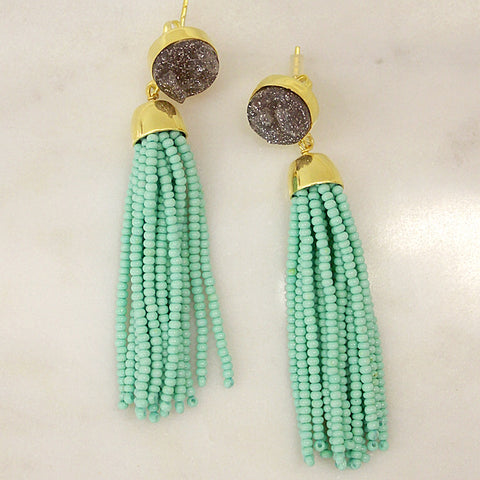 Druzy Tassel Earrings - Mint + Grey
