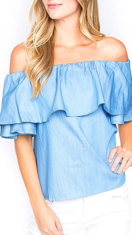 Kaia Off-the-Shoulder Top - Chambray
