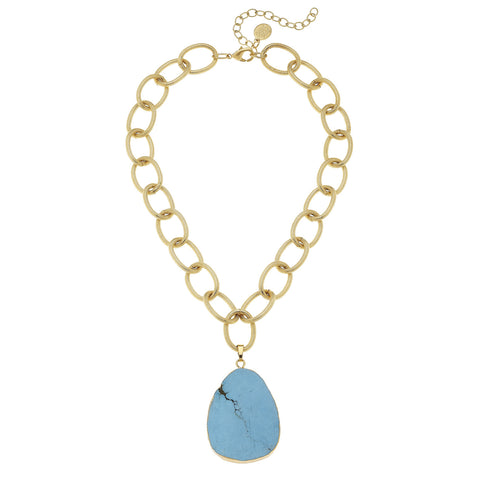Chunky Stone Necklace - Gold + Turquoise