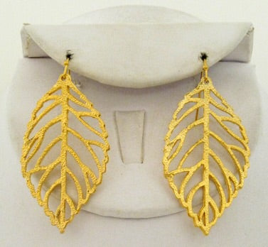 Handcast Leaf Earrings - Gold