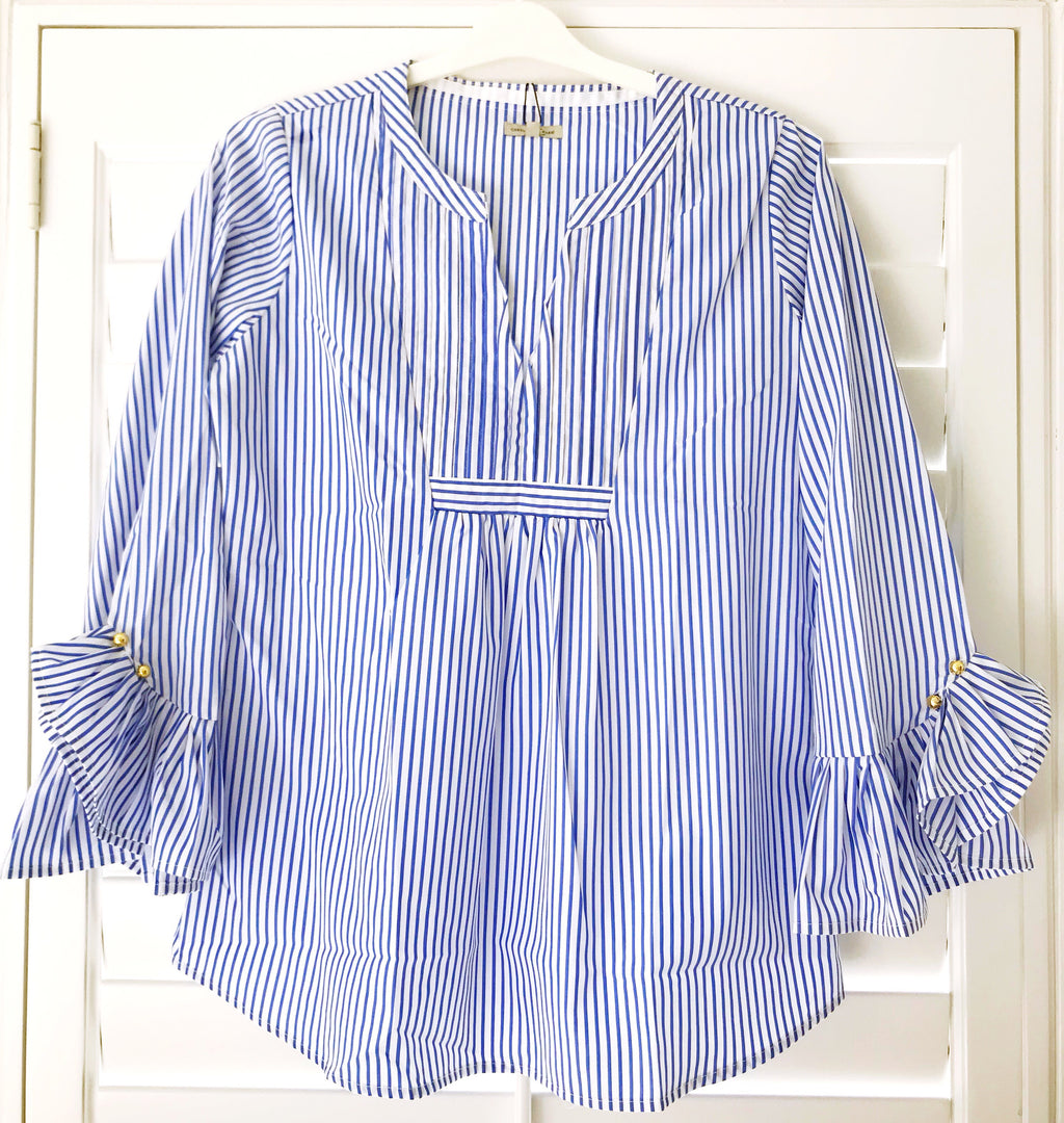 Bella Ruffle Cuff Blouse - Blue Stripe