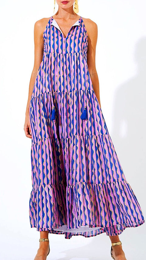 Dahlia Tiered Maxi - Pink + Gold + Blue