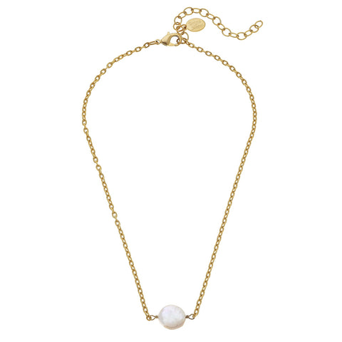 Single Coin Pearl Necklace - Gold