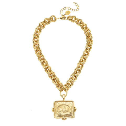 Square Bee Necklace - Gold