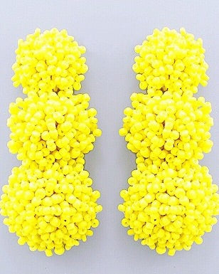 Beaded Bon Bon Earrings - Lemon