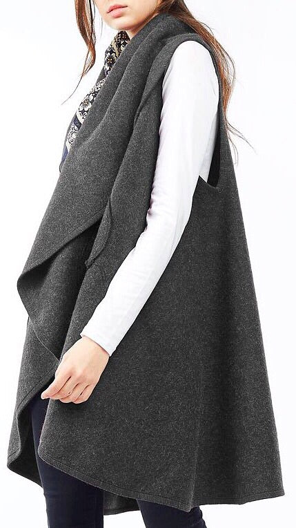 Circle Pocket Shawl Vest - Charcoal