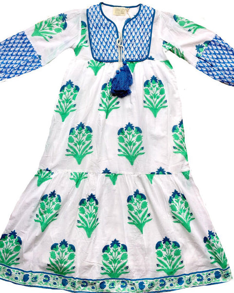 Jodhpur Tiered Maxi - Palladio Garden Print in Green + Blue