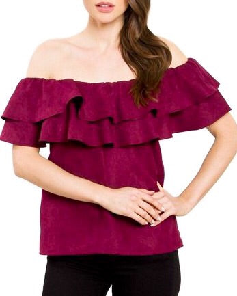 Nora Faux Suede Top - Spiced Wine