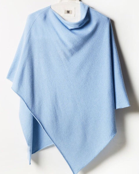 One-Size Cashmere Poncho - Baby Blue