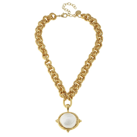 Chunky Cotton Pearl Necklace - Gold