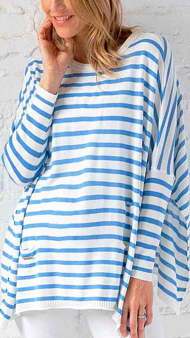Catalina Travel Sweater - Blue + White Stripe *PRE-ORDER*