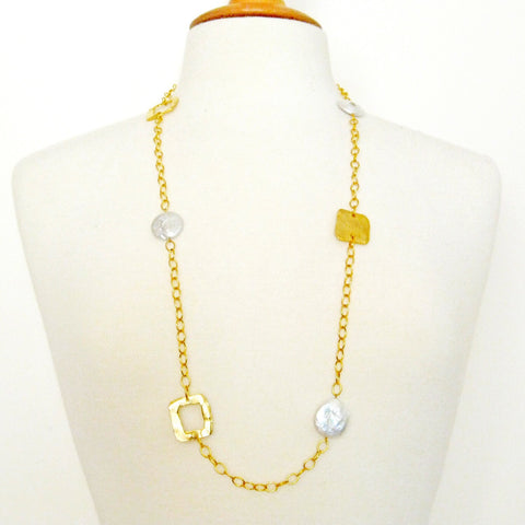 Disc Necklace - Gold + Pearl