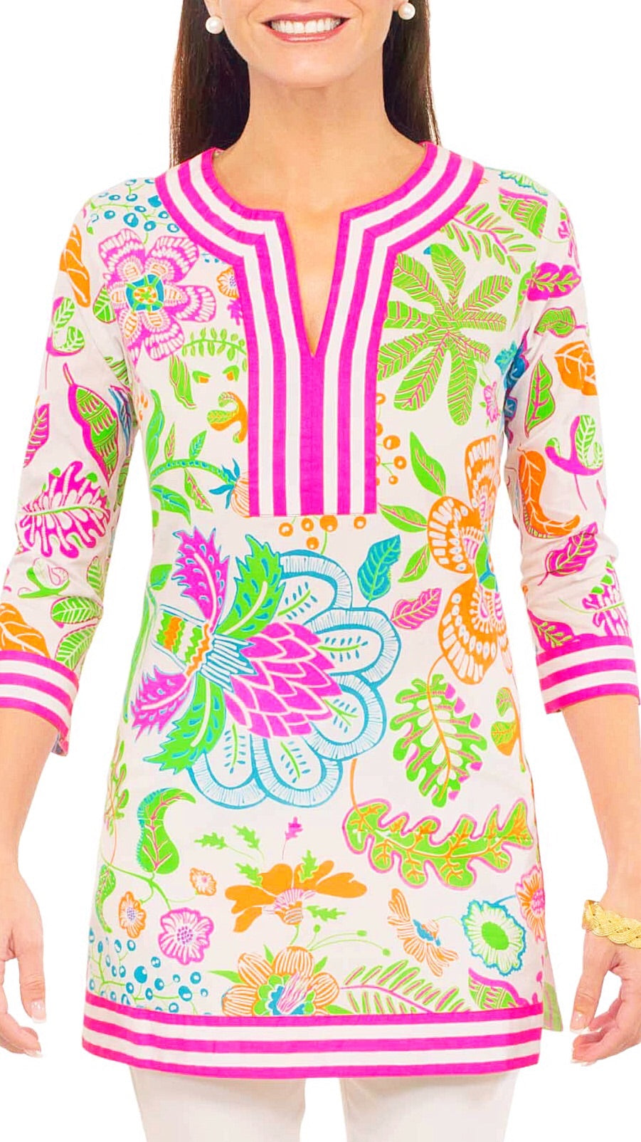 Classic Split Neck Tunic - Pink + Green