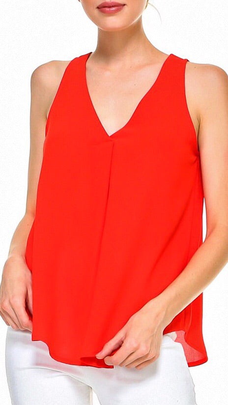 Miller Pleated Tank - Poppy