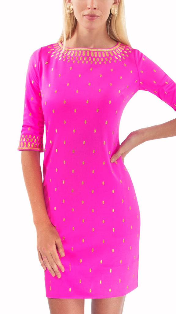 Tippins Embroidered Dress - Pink + Gold