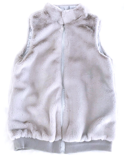 Faux Fur Vest - Grey