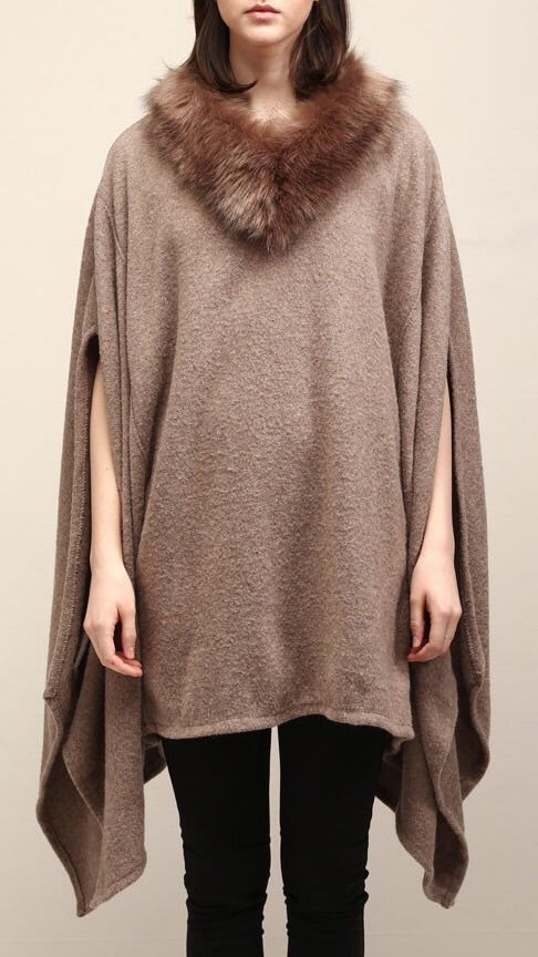 Fur Neck Poncho - Taupe