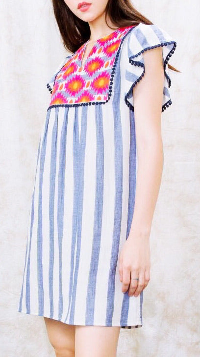Kai Embroidered Stripe Dress - Blue + White