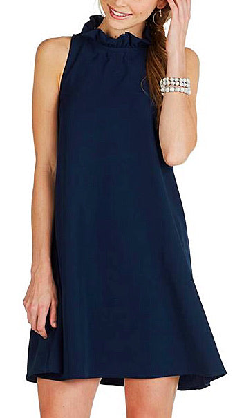 Eloise Ruffle Neck Dress - Navy