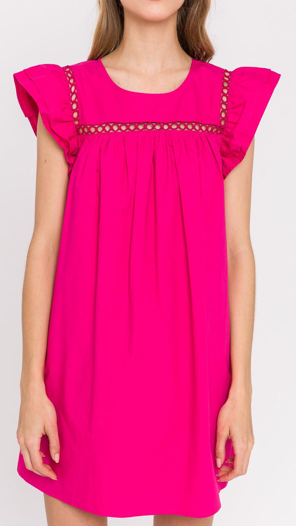 Lele Lace Trim Dress - Pink