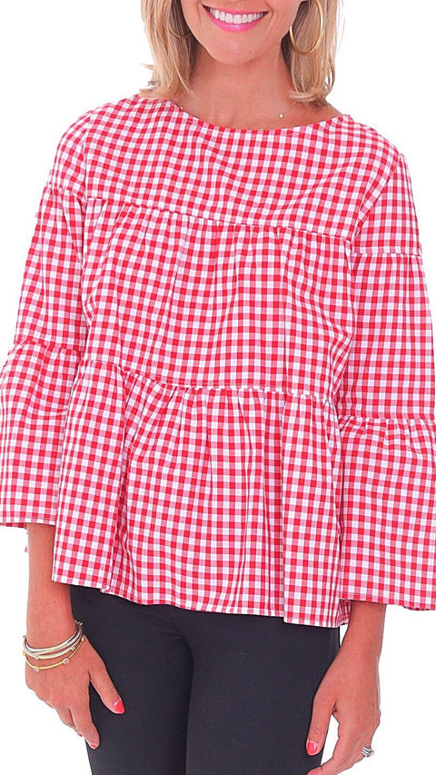 Blake Top - Red + White Gingham