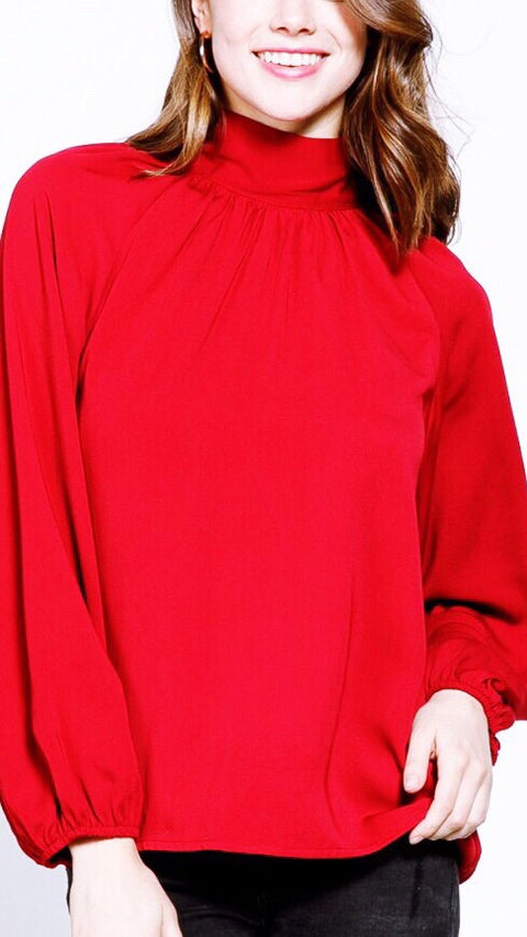 Holly Bow Back Blouse - Red Currant *PRE-ORDER*