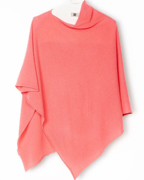 One-Size Cashmere Poncho - Coral