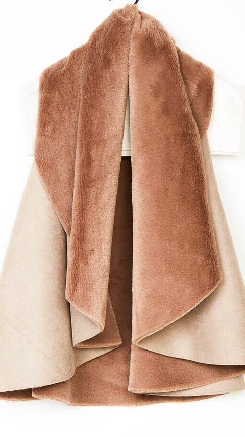Suede Shearling Vest - Taupe